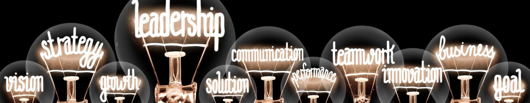 Group of light bulbs group with shining fibers in a shape of Leadership, Strategy, Teamwork and Solution concept related words isolated on black background